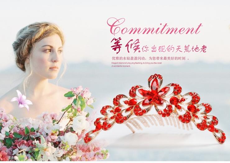 万博网页版登录婚庆万博matext登录 红色镶钻新娘皇冠