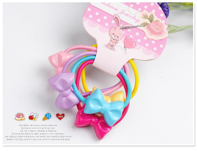 4彩色蝴蝶结儿童发圈